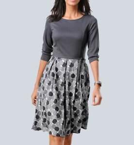 Kleid Druck Kleid ALBA MODA grau kurz ausgestellt Muster ...