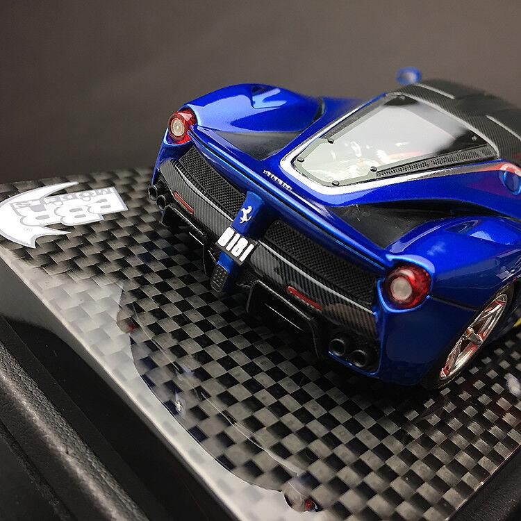 New 1 43 BBR Ferrari Laferrari Coupe car car car Model Met. bluee Carbone Roof Chrome rim a47508