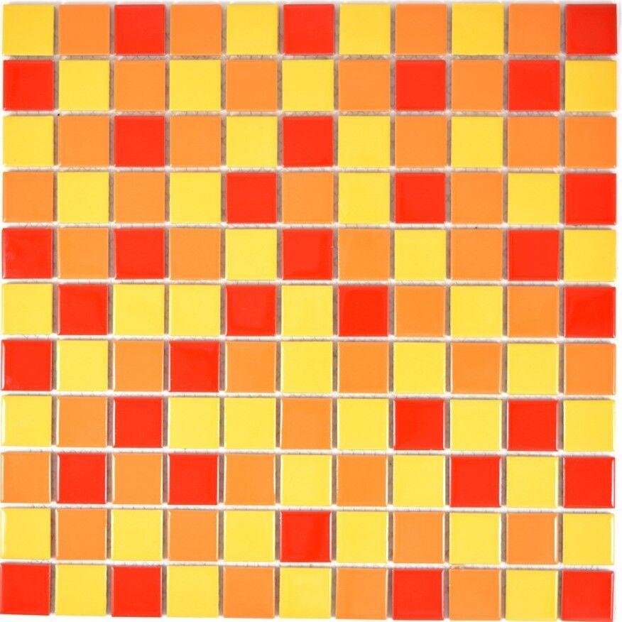 Mosaik Fliese Keramik gelb Orange rot Schwimmbad Küche   18-0789_f   10 Matten