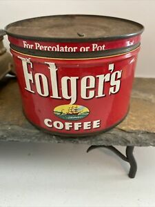Vintage 1952 J. A. Folger's Coffee Tin 1 lb. w/ Lid  Very Nice Condition
