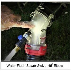 Holding Tank Water Flush Valve Sewer Swivel Fitting Rv Trailer Outlet 45 Elbow Ebay