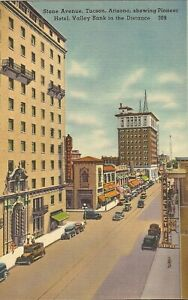 Tucson-ARIZONA-Stone-Avenue-Pioneer-Hotel-signs-old-cars
