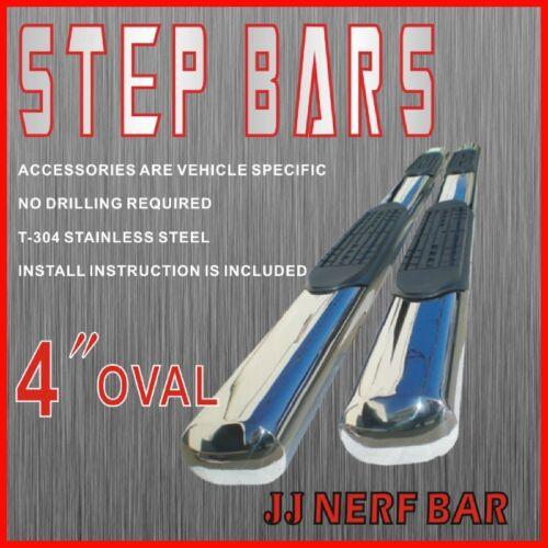 """2013 Silverado 1500HD Crew Cab 4/"""" OVAL Nerf Bars Side Steps Rails Running Boards"""