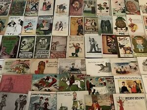 BIG-LOT-OF-OLD-VINTAGE-COMIC-HUMOR-funny-POSTCARDS-1900-039-s-All-In-Sleeves-a504