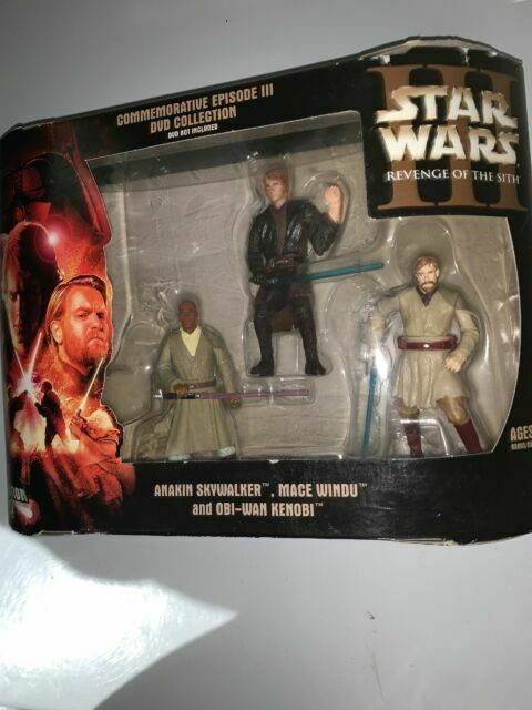 Hasbro Star Wars Commemorative Episode Iii Collection Anakin Skywalker Mace Windu And Obi Wan Kenobi Action Figure For Sale Online Ebay