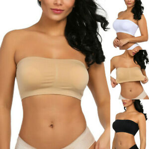 Double-Layers-Plus-Size-Strapless-Bra-Bandeau-Tube-Removable-Padded-Top-Stretchy