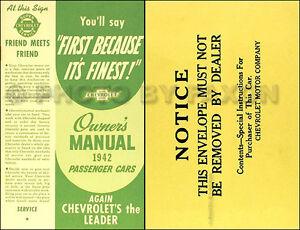 1942 Chevrolet Voiture Manuel Du Propriétaire Avec Enveloppe 42 Chevy Guide Neuf Iwbacz6q-07215651-330748268