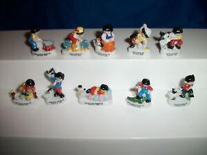 TEDDY BEARS Set of 10 Miniature Figurines FRENCH Porcelain FEVES Mini Figures