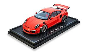 Original Porsche 911 Gt3 Rs Lava Orange Modèle Avec Vitrine 1:12 Spark