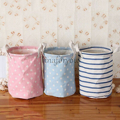 Cotton Linen Storage Basket Organizer Sorter Bag Bin Washing Laundry Hamper NEW
