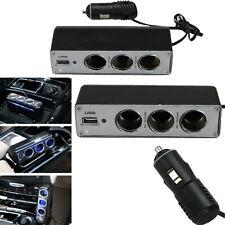3 Way Cigarette Lighter Socket Splitter 12 /24v DC Power Car Adapter USB Port