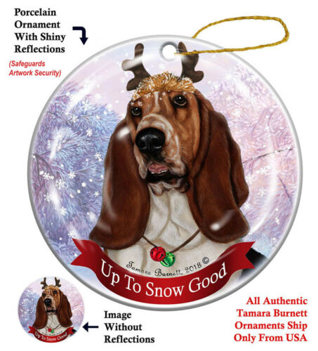 Basset Hound Dog Christmas Holiday Ornament Up To Snow Good
