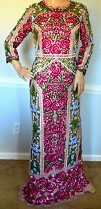 New-Marchesa-Notte-Guipure-Lace-Floral-Embroidered-Long-Maxi-Dress-Gown-US-2