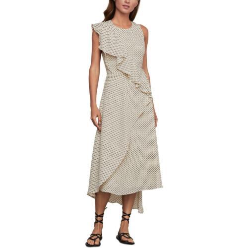 BCBGMAXAZRIA Womens Printed Asymmetric Faux Wrap Midi Dress BHFO 5536