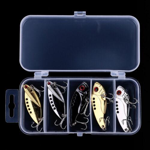 5pcs//Box Metal Fishing Lures Bass Vibration Bait Crankbait Spoon Swimbait Tackle