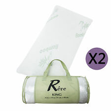 2 x King Pillow New Bamboo Memory Foam Hypoallergenic Cool Comfort w/Travel Bag