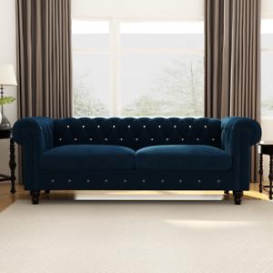 Transitional Velvet Upholstered Button Tufted Chesterfield 80 Rolled Arm Sofa Ebay