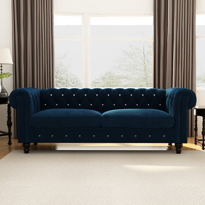 Transitional Velvet Upholstered Button Tufted Chesterfield 80 Rolled Arm Sofa Ebay