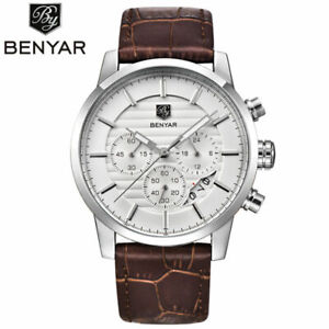 BENYAR 3 ATM Water Resistant Genuine Leather Band Men Military Wrist Watch Gift