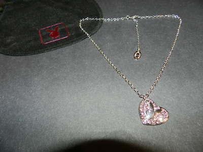 PLAYBOY Cut out bunny in clear crystal circle Necklace NEW