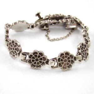 HEAVY-Vintage-Sterling-Silver-Taxco-Mexico-Flower-Chain-Link-Bracelet-8-034-SEI