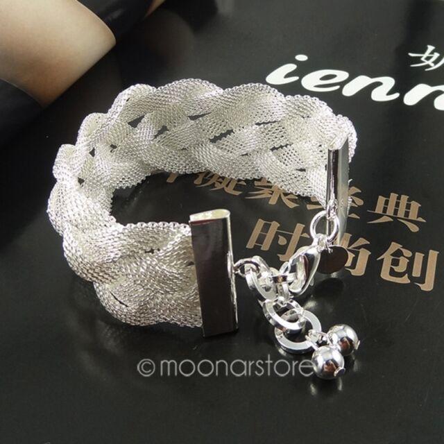 Fashion Hot Women Sterling Silver Plated Beads Ball Bangle Cuff Bracelet Jewelry