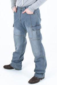 Men-039-s-Motorcycle-Motorbike-Dull-cargo-Pants-Protective-Lining-14oz-Denim-Jeans