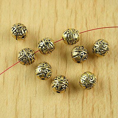 20pcs dark gold-tone crafted flower round beads h1867