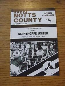 15-08-1978-Notts-County-v-Scunthorpe-United-Football-League-Cup-Item-In-very