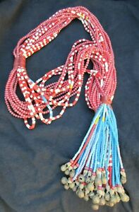 Vintage-Fulani-Tribe-Old-Trade-Bead-amp-Bell-Ritual-Necklace-West-Africa