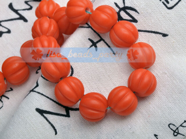 10pcs 12mm Round Pumpkin Lampwork Glass Loose Beads Christmas Gift  Orange Red