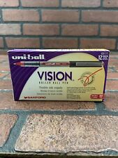 Uni Ball Vision Red Ink Fine Point Roller Ball Pen One Dozen 12 Pens New60117