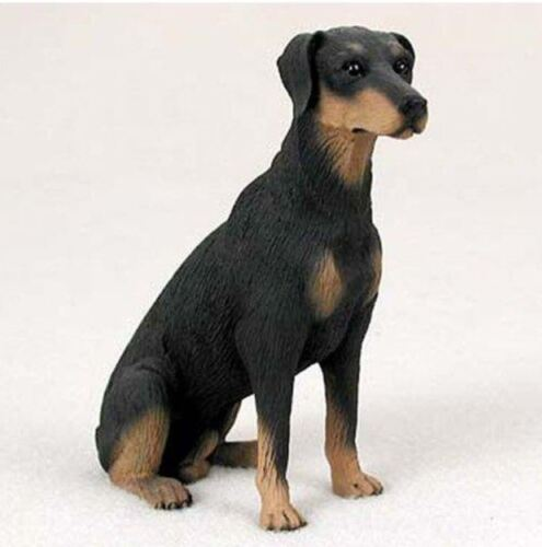 DOBERMAN PINSCHER DOG Figurine Statue Hand Painted Resin Gift Uncropped BLACK