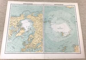 1891 Antik Map Of Die North Stange Southern Polar Region Antarctic 19th Century