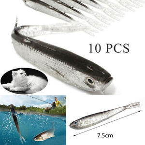 Lot-10-Soft-Silicone-Fishing-Lures-Bass-CrankBait-Crank-Bait-Tackle-7-5cm-2-2g