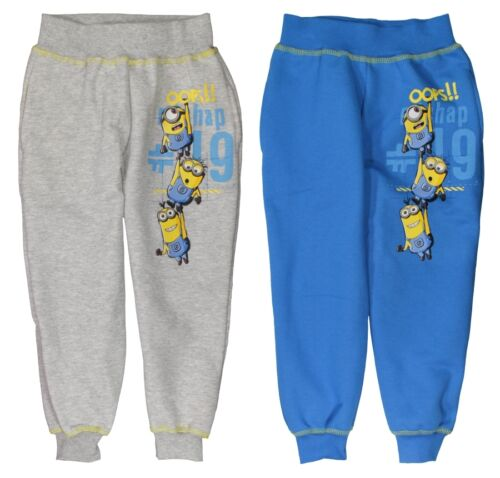 New boys licensed Despicable Me Minions tracksuit trousers bottom grey blue bnwt