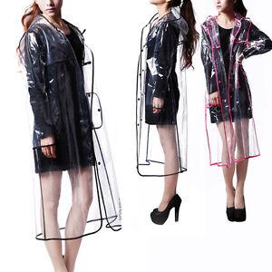 Women-Girls-Men-Transparent-Hoodie-Clear-Rainwear-Runway-PVC-Raincoat-Rain-Coat