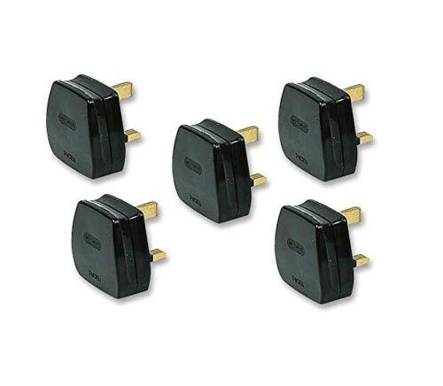 5x Pack of 13 A UK 3-Pin secteur prise Adaptateur Avec 13 A fusible Ajustée-Noir