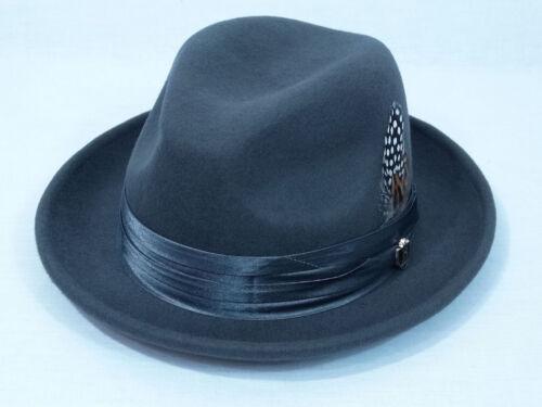 M L Men/'s Fedora Dress Hat Charcoal Gray UN-109 100/% Australian Wool S XL