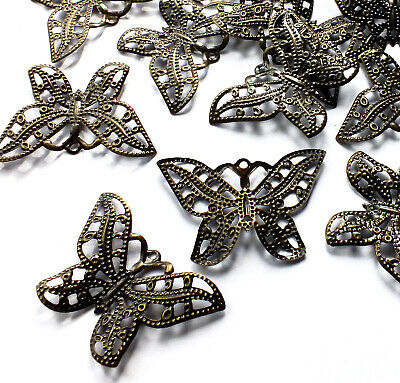 32mm 20 x Silver Plated Filigree Butterfly Embellishment Charm Decoration Craft