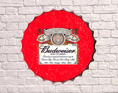 30cm Budweiser Bud Drinks Vintage Retro Wall Display Sign Metal Beer Bottle Top