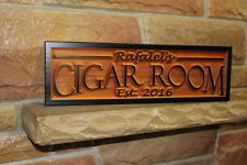 Personalized Cigar Bar Sign Smoking Room Custom Carved Wood Signs Rustic Plaque