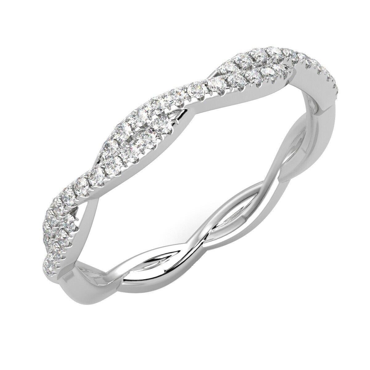 0.25 Carat Round Diamond Twisted Half Eternity Ring, UK Hallmarked White gold
