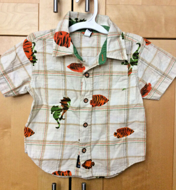 Baby Gap Toddler Boy's Plaid Orange & Green Fish Hawaiian Cotton Surf Shirt 3T