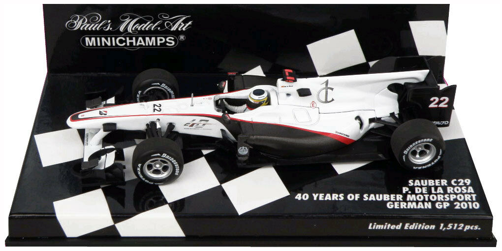 Minichamps Sauber C29 '40 Years' German GP 2010 - Pedro De La pink 1 43 Scale