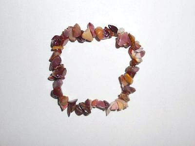 "NATURAL MOOKAITE HEALING CRYSTAL GEMSTONE 7"" CHIP STRETCH BRACELET  earth energy"