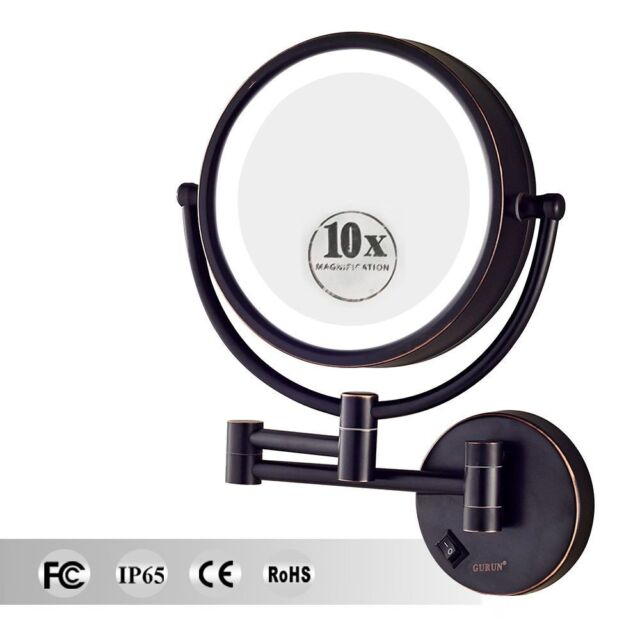Large Led Lighted 10x Magnifying Makeup Mirror Hardwire Wall Mounted
