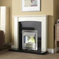 Electric Silver White Surroud Black Granite Modern Wall 2kw Fire Fireplace Suite