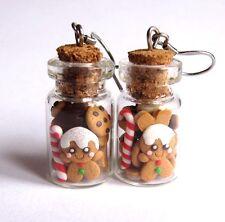 Glass Jars Funny Gingerbread Man Cookies Kawaii Girls Gifts Earrings Jewelry