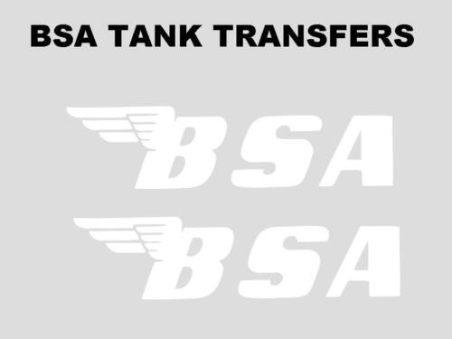 BSA Tank Transfers Decals Motorcycle Standard 143x37mm B25 B40 A65 B44 White